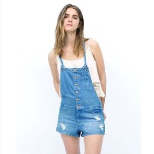 Zara denim romper overalls